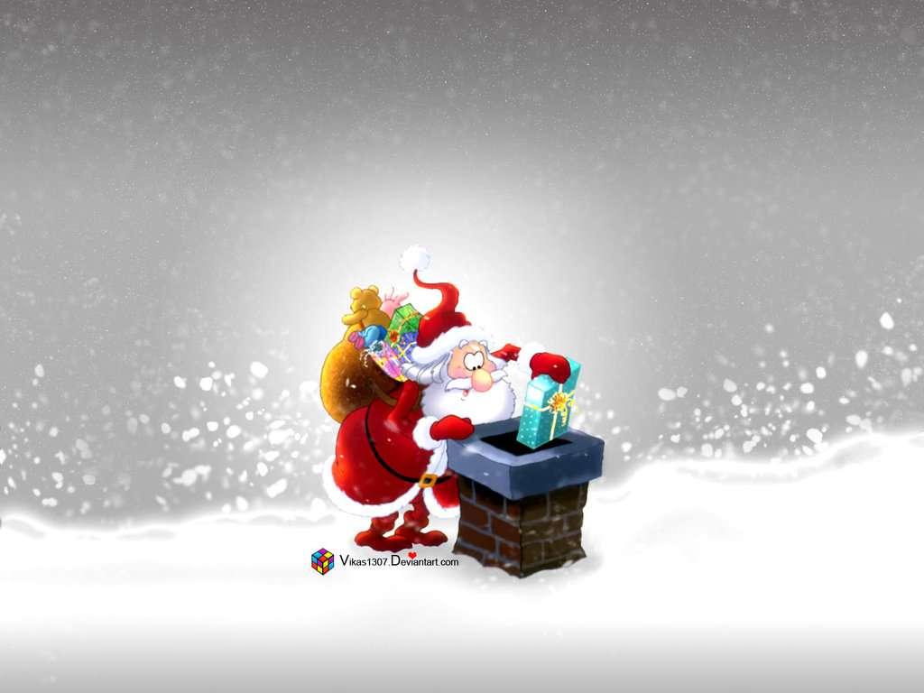 Santa en la chimenea